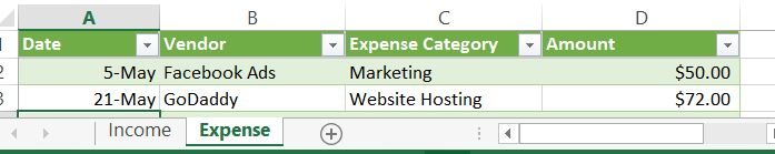 excel expense categories